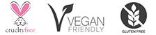 Cruelty free, vegan, gluten-free logo
